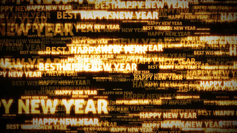 4k Happy New Year Postcard Clip Loopable Animation