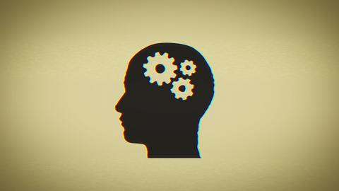 4k Brain Gears Inside Head Silhouette Animation