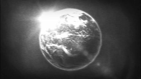 Earth Planet On Retro Black And White Tv Filter Animation