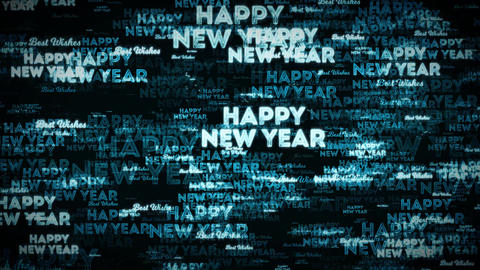 4k Happy New Year Postcard Clip Loopable Stock Video Footage