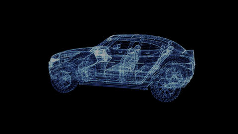 The hologram of a rotating modern Suv Live Action