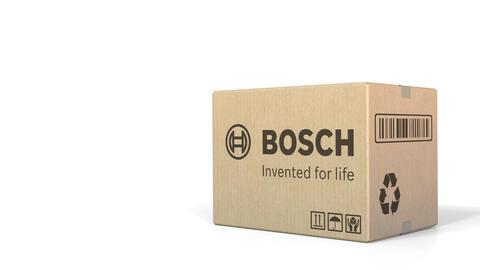 Carton with Bosch logo. Editorial 3D animation Live Action