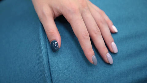 Female hand on the fabric of a pram Footage