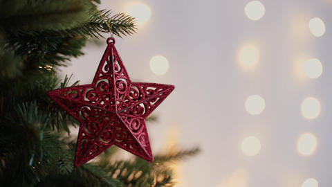 Christmas and New Year Decoration. Abstract Blurred Bokeh Holiday Background Footage