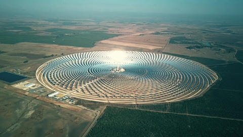 Aerial view of round solar power station Footage