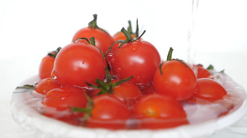 Cherry Tomatoes Rotating On White Background Animation