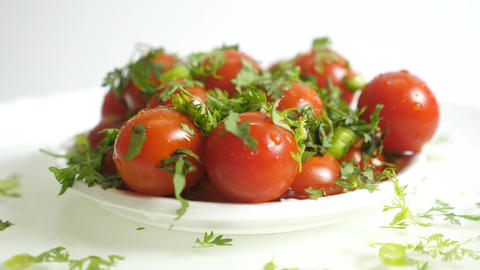 Material Tomatoes Rotating On White Background Animation