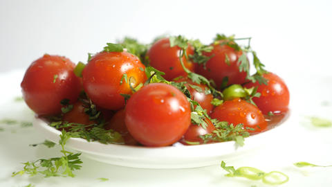 Material Tomatoes Rotating On White Background, Stock Animation