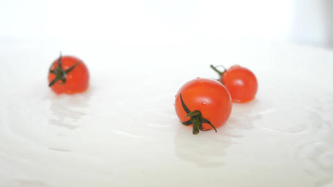Closeup Ripe Fresh Red Cherry Tomatoes Happy Animation