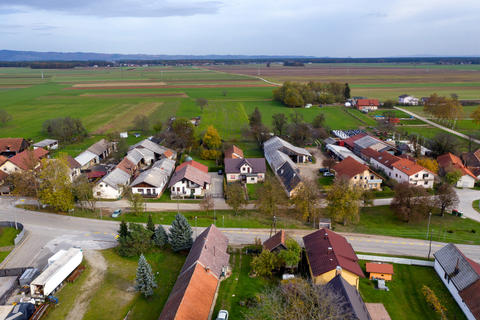 European countryside from the air, village in pannonian plain, Dravsko polje Photo