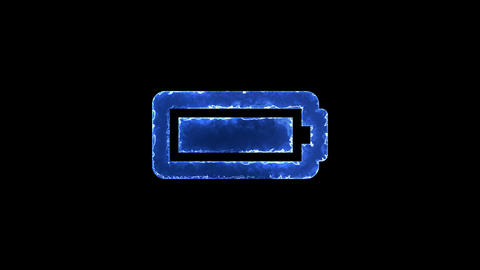 Symbol battery full. Blue Electric Glow Storm. looped video. Alpha channel black Animation