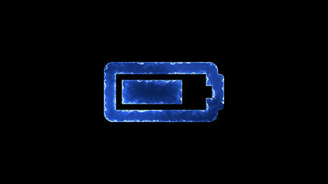 Symbol battery three quarters. Blue Electric Glow Storm. looped video. Alpha Animation
