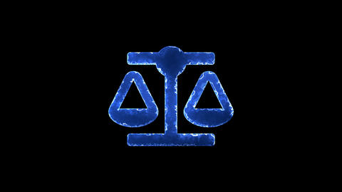 Symbol balance scale. Blue Electric Glow Storm. looped video. Alpha channel Animation
