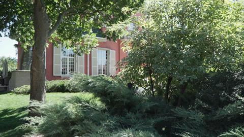 Tree and bush near a beautiful house Footage