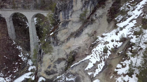 4K Aerial Drone view Landwasser Viaduct World Heritage Sight 영상물