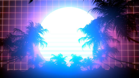 Retro 80s Palm Trees Animation