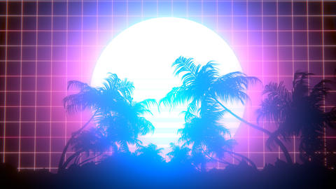 Retro 80s Palm Trees Stock Video Footage