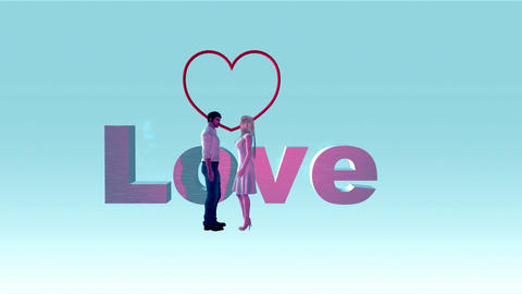 """Couple with Animated Word, """"Love"""" with Heart GIF"""