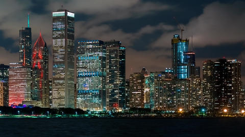 Chicago skyscrapers at night in time-lapse GIF