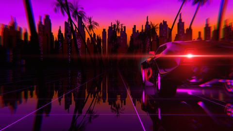 Retro-futuristic 80s style Car Animation