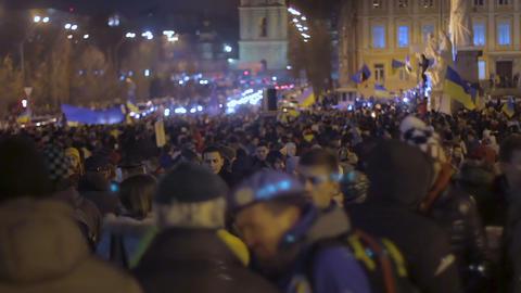 KYIV, UKRAINE - CIRCA DECEMBER 2014: Euromaidan demonstrations. Large group of Footage