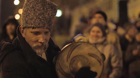KYIV, UKRAINE - CIRCA DECEMBER 2014: Euromaidan demonstrations. Elder man Footage