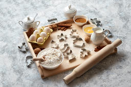 Delicious fresh and healthy ingredients for Christmas gingerbread Fotografía