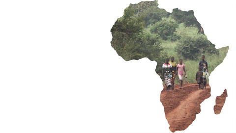 Africa continent shape with blurred people walking Footage