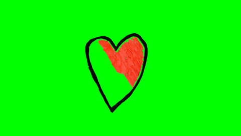 Drawing different hearts over green screen Live Action