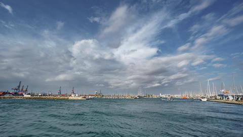 Veles i vents building, marina entrance and cranes timelapse Footage