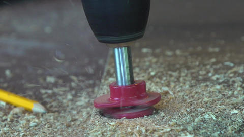 Electric Drill Working On Wood Stock Video Footage