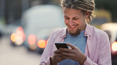 Man Texts in Street Live Action