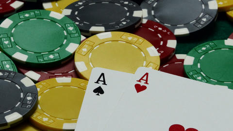 Casino chips and pair of aces Footage
