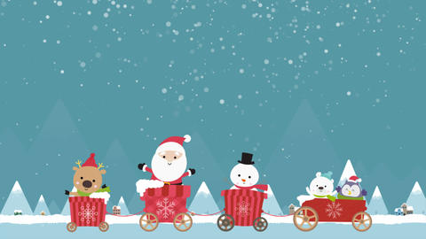 Cartoon animation character of Christmas santa reindeer and snowman in the cart Animation
