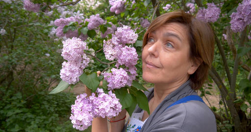 Middl aged woman smiles in the park near lilac flowers. T Footage