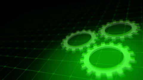 Concept of cooperation process - green neon gears loop 3D render Animation