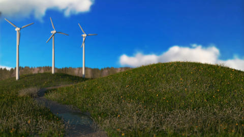 wind generators on meadow,green energy concept, seamless loop - 3D render Animation