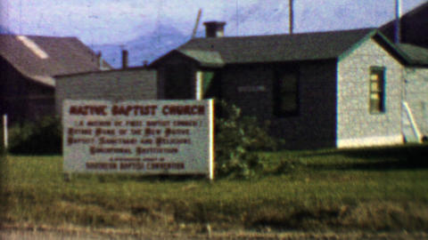 1957: Native Baptist Church sign grand opening founders waving Footage