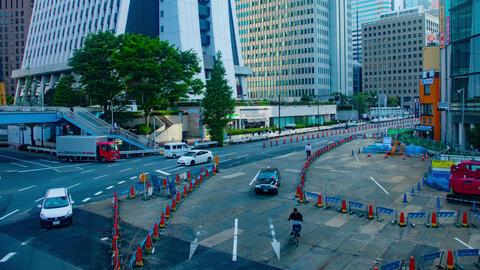 Busy street at building street 4K zoom in Footage