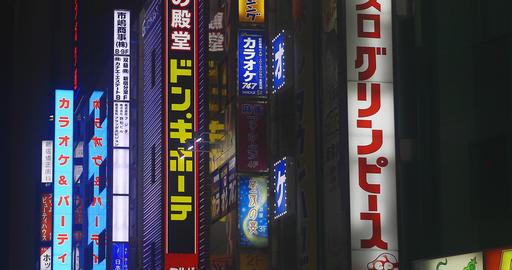 Neon boards at Shinjuku south 4K low angle ビデオ