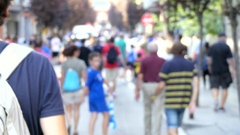 People Walk Away Big Blury Crowd Stock Video Footage