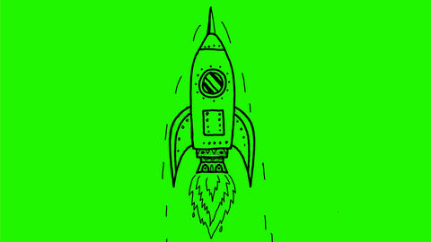 Vintage Rocket Ship Blasting Off Drawing 2D Animation Animación