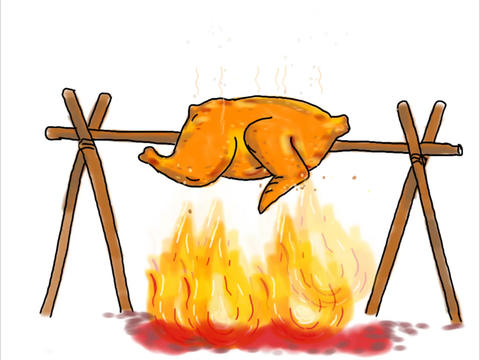 Chicken Roasting Barbecue Drawing 2D Animation Animation