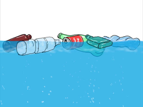 Plastic Trash or Rubbish Floating in Ocean Drawing 2D Animation Animation