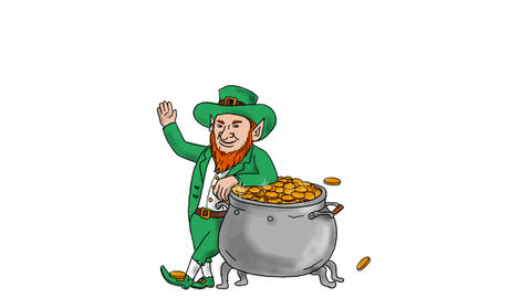 Leprechaun Standing by Pot of Gold Drawing 2D Animation CG動画素材