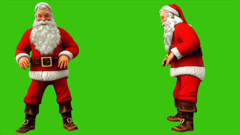 Santa Claus was sitting and jumped from the push on the green screen during Animation