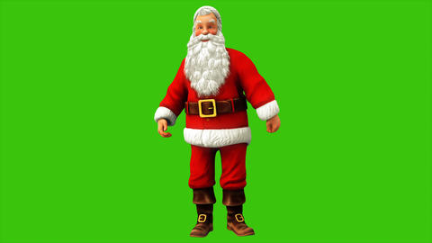 Cheerful Santa Claus is spinning on the green screen during Christmas 4k Animation
