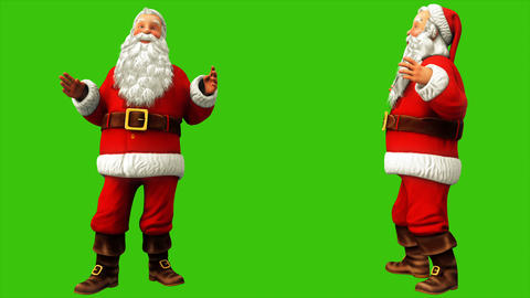 Cheerful Santa Claus is saying something on the green screen during Christmas Animation