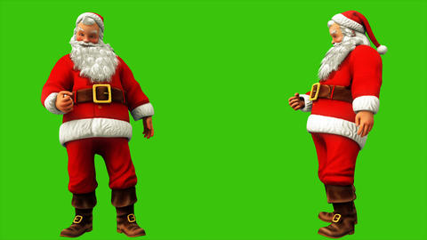 Santa Claus makes a hand sign on the green screen during Christmas 4k. Seamless Animation