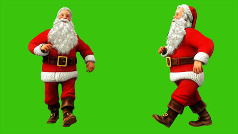 Santa Claus is having fun walking on the green screen during Christmas 4k Animation